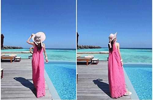 Smile YKK Femme Robe Peplum Dentelle Chiffon Slim Design Beauté Uni Rose