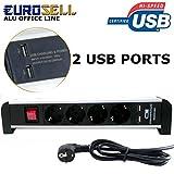 Eurosell Premium Alu Office Line Tischsteckdosenleiste mit USB - Tisch Steckdosenleiste 4er 4fach mit 2 x USB Ladegerät Port