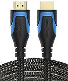 FosPower Premium Hochgeschwindigkeits HDMI 2.0 Kabel FLEXIBEL(VERGOLDET|7,5m lang|Nylon-Mantel)[Ethernet|4K|3D|UHD] Glasfaser Cable - HDTV/DVD Blueray Media Player/Fernseher/Laptop/Monitor