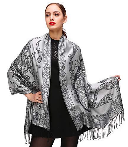Shmily Girl Damen Schultertuch Stola - Eleganter Pashmina Schal mit floralem Muster in vielen Farben (One Size, Grau-c092)