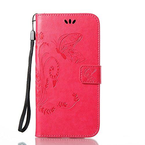 Solid Color Faux Leder Bookstyle Brieftasche Stand Case mit geprägten Blumen & Lanyard & Card Slots für Samsung Galaxy A7 2017 ( Color : Blue ) Rose