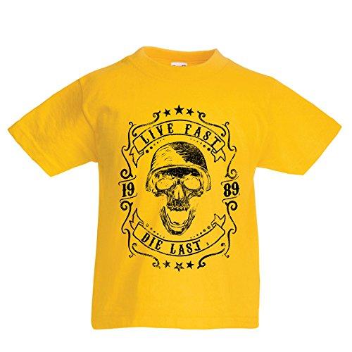 Kinder Jungen/Mädchen T-Shirt Lebe schnell - stirb zuletzt, Fahrradermine, Motorradbekleidung, Liebe zum Fahren, tolles Geschenk für Biker (14-15 Years Gelb Mehrfarben)