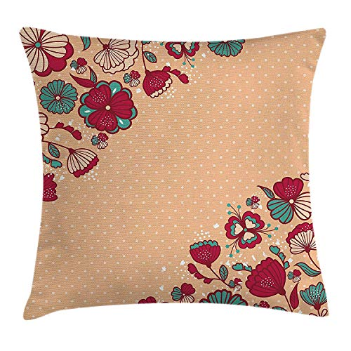 Trsdshorts Floral Throw Pillow Cushion Cover, Nature Beauty Flowers on Nostalgic Polka Dots Background Artsy Illustration, Decorative Square Accent Pillow Case, 18 X 18 inches, Teal Ruby Salmon