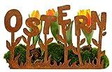 Rost - Schriftzug 'Ostern' & Osterblumen - Länge 35cm - Zum Stellen - Gartendeko & Osterdeko