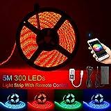 Bluetooth RGB LED Streifen 16.4Ft 5M 150 LED Stripes mit Smart APP Kontrolliert,5050 Lichtschläuche LED Lichtband 12V 2A für Haus Dekoration