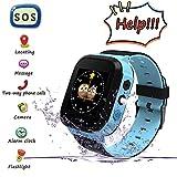 Smart watch per bambini, Chiamata SOS di emergenza, localizzazione GPS, area di sicurezza, fotocamera, Sveglia, Torcia, Giochi digitali, smartwatch per bambini dai 3 ai 14 anni (Blu)