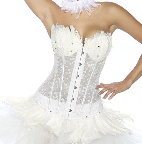 White Kostüm Und Black Swan - Weiße Corsage aus Spitze mit Federn und Strass White Swan Outfit Kostüm (S)