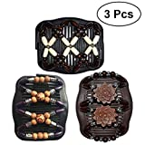 #7: Frcolor 3pcs Magic Wood Beads Double Hair Comb Clip Stretchy Hair Slides Hair Accessories for Women Girls