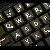 German Deutsch Large Lettering Non-Transparent BLACK Keyboard Stickers With WHITE Letters - Suitable for ANY Keyboard