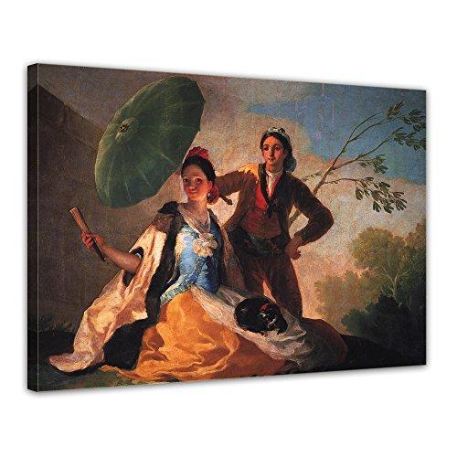 Bilderdepot24 Leinwandbild - Francisco de Goya - Der Sonnenschirm - 120x90cm XXL einteilig - Alte...