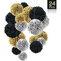 O-Kinee - 24 Pompones de Papel de Seda para decoración de cumpleaños, Bodas, bebés, duchas, Fiestas, decoración Principal y Fiestas, Color Negro, Dorado y Plateado
