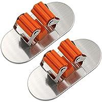 SODIAL 2 piezas de Soporte autoadhesivo de fregona y escoba de acero inoxidable cepillado Estante de