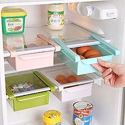 Wjkuku Contenitore salvaspazio multifunzione in plastica per cucina, frigorifero, freezer, da applicare al ripiano del frigo come fosse un cassettino White