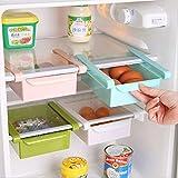 WJkuku, contenitore salvaspazio multifunzione in plastica per cucina, frigorifero, freezer, da applicare al ripiano del frigo come fosse un cassettino White