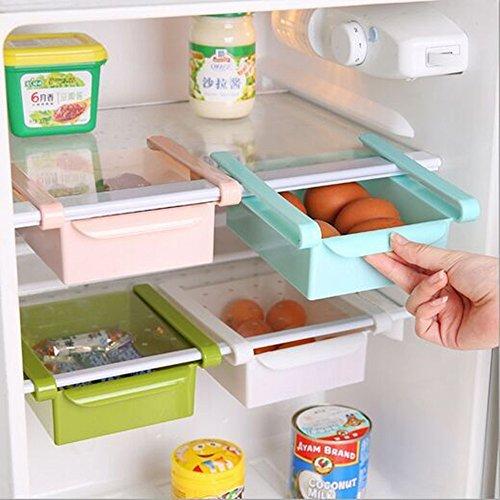 wjkuku multifunzione plastica cucina frigorifero Storage Box congelatore Mensola porta cassetti scorrevoli Spac cucina salvaspazio Blue