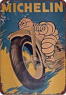 Michelin Motorbike /Étain Mur Signe Affiche de Fer M/étal Mur /étain Panneau Attention Plaque R/étro d/écoration Murale pour Caf/é Bar H/ôtel Jardin Parc