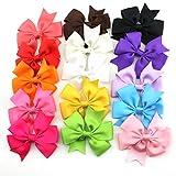 Tinksky 15 couleurs cheveux boucles Clip Grosgrain Ribbon bandeaux pinces pour cheveux pour enfants filles...