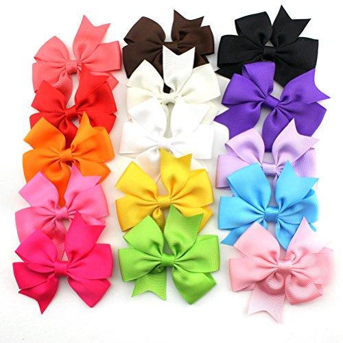 Tinksky 15 couleurs cheveux boucles Clip Grosgrain Ribbon bandeaux pinces pour cheveux pour enfants filles