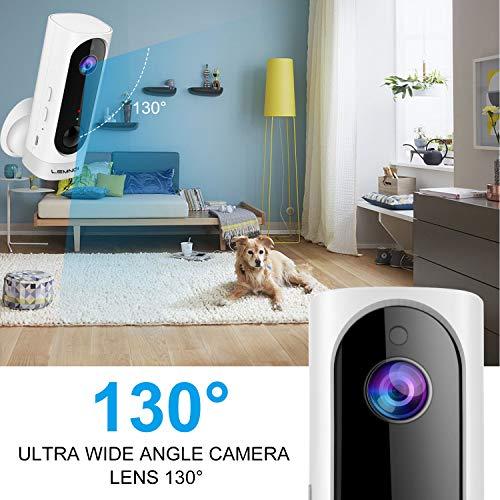 Lemnoi Telecamera di Videosorveglianza Batteria Wifi senza Fili, Telecamera batteria Wireless Interno Full HD Visione Notturna Audio Bidirezionale PIR Sensore di Movimento