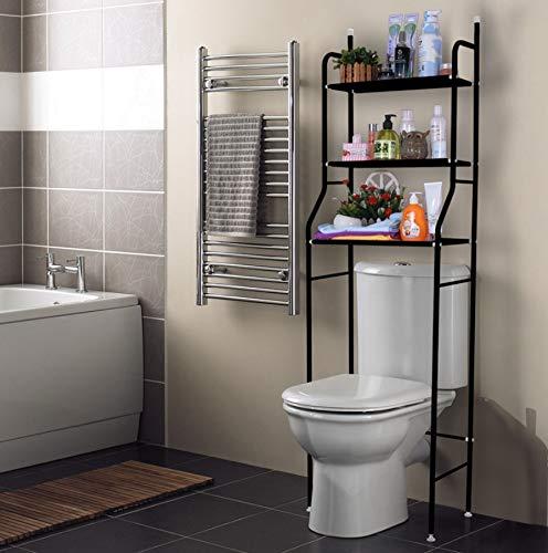 *Bayli Toilettenregal ohne Bohren mit 3 Ablagen | Höhe 158cm | Badezimmerregal aus Eisen | Waschmaschinenregal | platzsparendes Allzweck Regal in Farbe Schwarz | WC Aufbewahrung |*