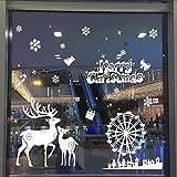 Stickers Muraux fenetre Vitres Decoration de Noël,Koly Stickers noel Wall Stickers flocon de neige père noël Amovible Decoration de Noël Autocollants Merry Christmas Chambre Salon vitrine deco noel (FF, illimité)...