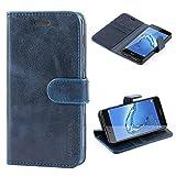 Mulbess Handyhülle für Honor 6C Hülle, Leder Flip Case Schutzhülle für Huawei Honor 6C Tasche, Dunkel Blau