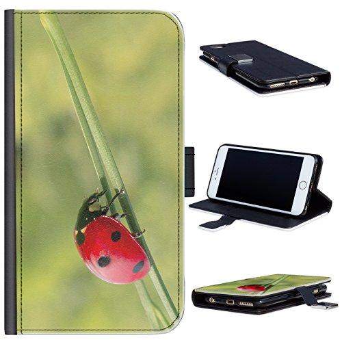 Hairyworm - Marienkäfer mit schwarzen Flecken HTC One M7 Leder Klapphülle Etui Handy Tasche, Deckel mit Kartenfächern, Geldscheinfach und Magnetverschluss. HTC 1 M7 Fall Handy-fall, Htc M7