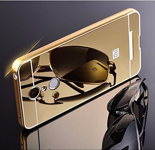 KPH Luxury Mirror Effect Acrylic back + Metal Bumper Case Cover for Xiaomi Redmi Note 3 - Gold