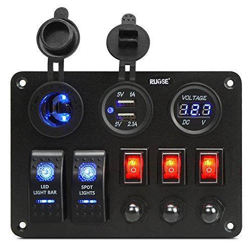 Rupse 2 Gang Switch Panel von Digitalen Voltmeter + 12V Steckdose + Dual USB Ladegerät Adapter (Einzelsteuerung) -