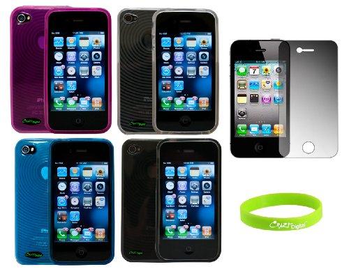 CrazyOn Schutzhülle mit Displayschutzfolie für AT & T Sprint Verizon Apple iPhone 4S, Schwarz