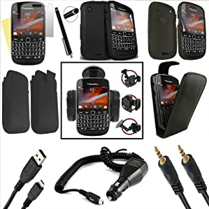 Blackberry 9900 Bold Touch 10 In 1 Accessory MEGA VALUE PACK With Car Charger, Car Holder, Screen Protector, Black Leather Flip Case, High Capacitive Stylus Pen, Gel Case, Silicone Case, Pull Tab Pouch Leather Case, Data Cable, 3.5mm Audio Jack to Jack Cable For Your Blackberry 9900 Bold Touch RRP £45.00