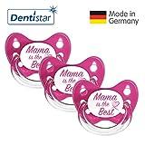 Dentistar Silikon Schnuller 3er Set - Beruhigungssauger, Nuckel Größe 1 von Geburt an, 0-6 Monate - zahnfreundlich & kiefergerecht | Pink Mama