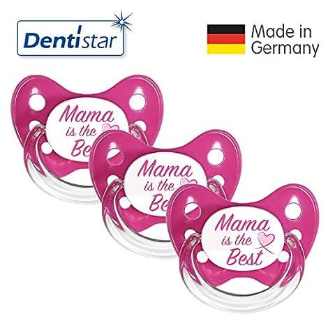Dentistar® Schnuller 3er Set - Nuckel Silikon in Größe 1 von Geburt an, 0-6 Monate - zahnfreundlich & kiefergerecht - Beruhigungssauger für Babys - Pink Mama
