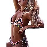 UFACE Bademode Badeanzug Frauen Reizvolle Print Bikini Set Push-Up gepolsterte Bademode Badeanzug Bade Beachwear XW395 (Multicolor, L)