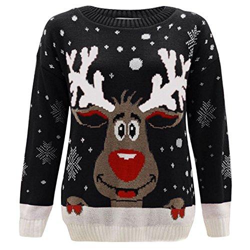 Janisramone Nuovo Da Uomo Da Donna Natale Renne Stampa Maglione a maniche lunghe Unisex Retro Natale Maglione Black - Reindeer S/M (40-42)