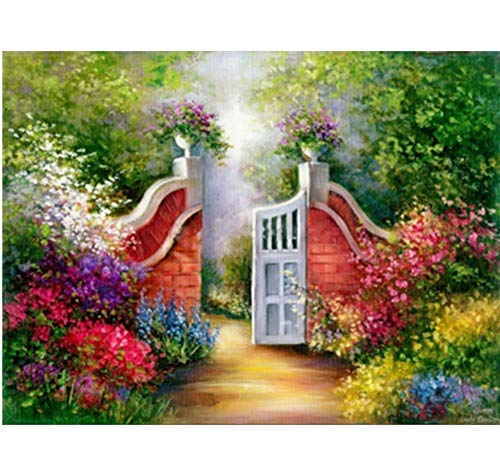 CYKEJISD Malen Nach Zahlen DIY Szenisches Forest Garden Green Plant Haus Dekorativ Wanddekoration DIY Malerei Auf Leinwand Für Wohnkultur -