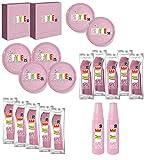T&M Group Srl Kit Party Festa Compleanno Bambina 100x stoviglie plastica monouso Posate Bicchieri tovaglioli Piatti (100)