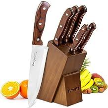 Emojoy Messerblock, Messerset, Kochmesser Set mit ergonomischem Holzgriff, rostfrei und säurebeständig Messerset Edelstahl, inkl. Wetzstahl, 6-teilig, braun