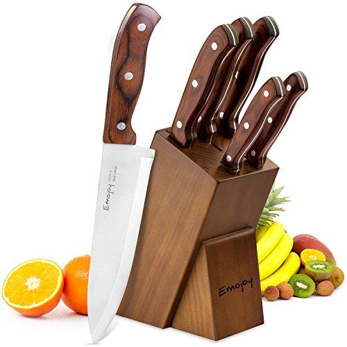 Emojoy Ceppo Coltelli, Set di coltelli professionisti 6 Pezzi, Coltelli da Cucina Set con un Blocco in Legno di Noce, Marrone, Coltelli da tavola