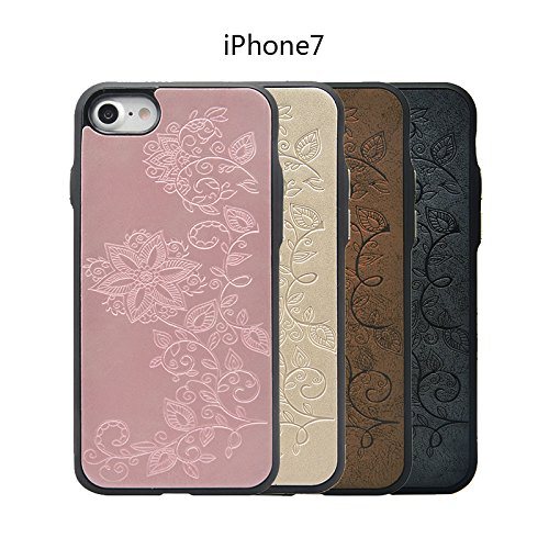 "WE LOVE CASE iPhone 7 4,7"" Hülle iPhone 7 4,7 Schutzhülle Handyhülle Im Golden Blumen Reben Muster Handytasche Handycover PC Harte Case Anti-Scratch Handy Tasche Schale Schlank Backcover Bumper Fall P Braun"