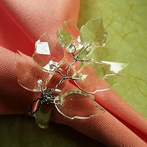 X7 Leaf Branch Perline Fiore In multi colore anello di tovagliolo, acrilico beades, 3.5CM, set di 12, , Round-Green