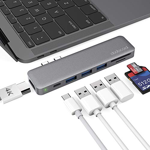 dodocool USB C Hub, MacBook Pro Adapter HDMI 4K, SD/Micro SD-Kartenleser, 3 USB 3.0 Ports, Thunderbolt 3-Aufladung, USB-C Adapter für MacBook Pro 2018/2019/2017/2016, MacBook Air 2018/2019, Spacegrau