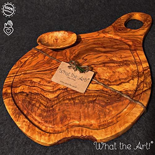 What the Art! Olive Wood | Olivenholzbrett inkl. Schälchen + Geschenk | Gr. L | ca. 45cm x 22-26cm x 2cm | Schneidebrett - Käsebrett - Hackbrett - Tranchierbrett - Servierbrett - Küchenbrett