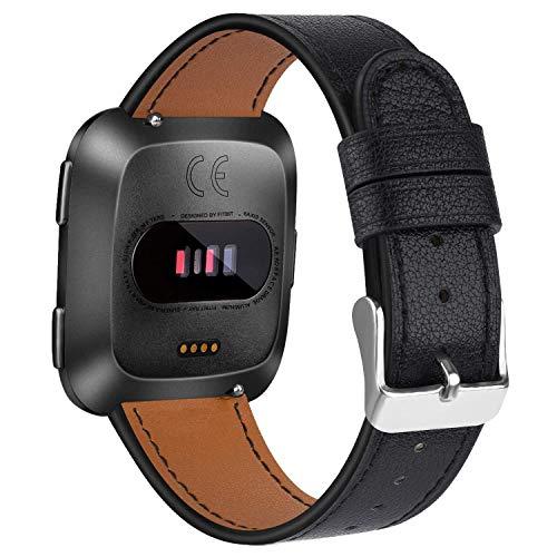 Amzpas Armbänder Kompatibel mit Fitbit Versa Armband/Fitbit Versa 2 Armband/Fitbit Versa Lite Armband, Lederband Ersatzband Modisch Verstellbares für Fitbit Versa & Versa Lite Edition (01 Schwarz) -