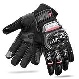 CARCHET Motorradhandschuhe Sommerhandschuhe 1KP Motorrad Handschuhe aus Leder Touchscreen Fallschützend