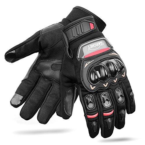 CARCHET Motorradhandschuhe Sommerhandschuhe 1KP Motorrad Handschuhe aus Leder Touchscreen Fallschützend mit Harter Schutzhülle Rutschfest Fahrradhandschuhe atmungsaktiv für Damen und Herren (L)