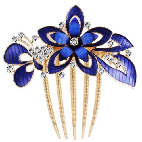 Haarkamm von Klaritta, Schmetterling und Blume, Königsblau, Hochzeitsschmuck, HA321