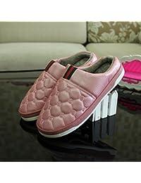 Pareja de invierno zapatillas de algodón hombres de cuero pu gruesa impermeable home interior caliente antideslizante zapatillas ,38-39 (36-37 pies), Rosa