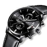 Herren Uhren Schwarz Herren Luxus Chronograph Datum Kalender Wasserdicht Business Analog Quarz Uhr Mode Sport Designer Kleid Casual Echtleder Armbanduhren für Männer