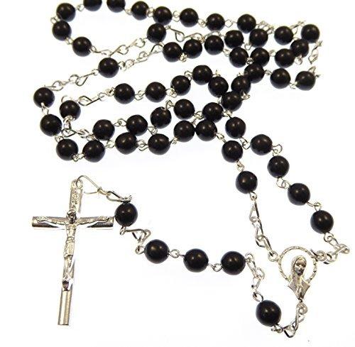 Rosario con perline di vetro nero da 6mm e catena placcata argento